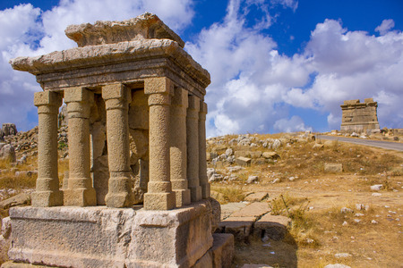 building feature: Lebanon - Country, Baalbek, Bekaa Valley, Close-up, Asia, Architectural Column, Staircase, Wall - Building Feature, Palace, Old Ruin, Fort, Architecture, Ancient Civilization, Stone Material, Statue, Roman, Ruined, The Past, National Landmark, Famous Plac Stock Photo