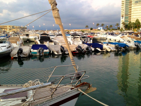 embarked: A very modern, high end and newly developed area where yachts are embarked - the beautiful Marina in Zaitunay Bay in Beirut, Lebanon.