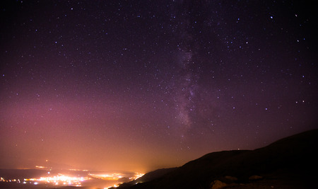 extreme angle: Night sky with Milky way. Starry sky over the mountains, photo taken at 2000 m Lebanon: the Milky Way, our galaxy.