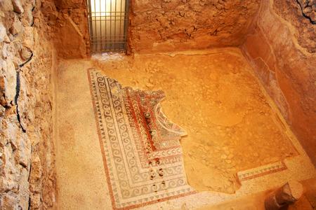 hebrews: Mosaic in Masada ruins, Israel. Mosaic in Masada ruins, Israel.