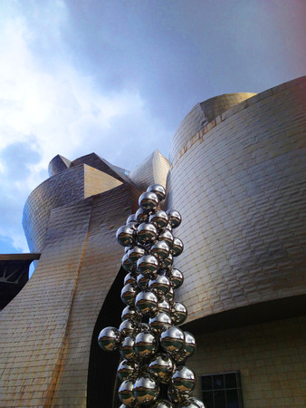 frank gehry: Bilbao, Spain - February 2, 2013: The Guggenheim Museum Bilbao is a museum of modern and contemporary art designed by Frank Gehry and placed beside Nervion river, Basque Country, Spain