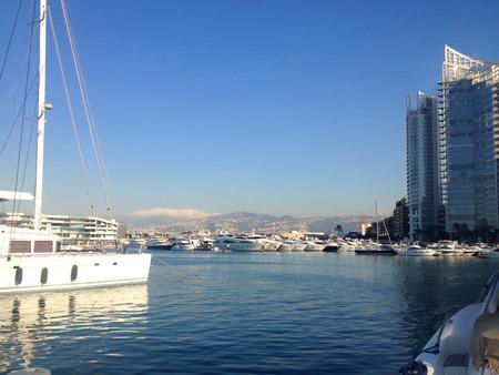 lebanon beach: A view of the beautiful Marina in Zaitunay Bay in Beirut, Lebanon. Stock Photo