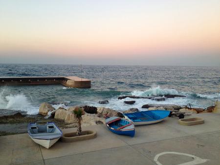 lebanon beach: Boats on the coast of Beirut, Lebanon Stock Photo