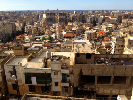 populated: Densely populated city of Tripoli Lebanon.