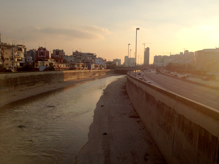 dirtiness: Bourj Hammoud, Beirut, Lebanon. General view of Bourj Hammoud district and the adjacent Beirut river.