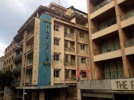 demolish: Beirut, Lebanon - January 04, 2016: Streetview at Lebanon Beirut. Pacific Hotel, Beirut, Lebanon Editorial