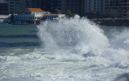 beirut: Storm on the sea in Beirut, Lebanon. Splash of water near famous seaside Corniche, Beirut, Lebanon.