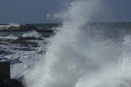 beirut: Splash of water. Storm on the sea in Beirut, Lebanon