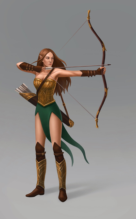 Isolated elf girl with bow and quiver of arrows