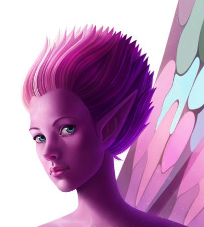 Fantasy digital illustration fairy on white background Imagens