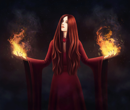 Fantasy illustration Witch in red dress with a fire from her hands. Priestess of fire Stock Photo