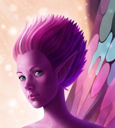 Fantasy digital illustration fairy in magic dust Imagens