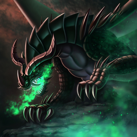 Fantasy illustration dragon in a cave breathes fire  green fire
