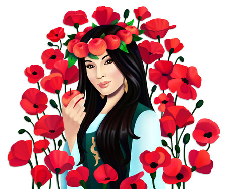Digital portrait asian woman with apples and poppy flowers on white background, isolated Banco de Imagens