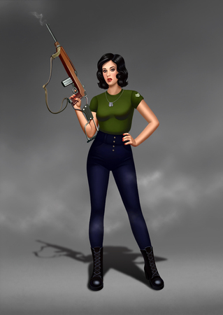 Digital illustration pin up military girl with a weapon is standing in a fog. gun is smoking