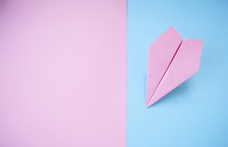 Flat lay of purple paper plane on pastel pink and blue background with text space.