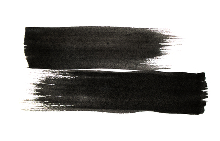 Black color paint strokes isolated on white background. Stock Photo