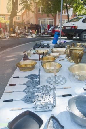 Old copper bowls on a flea market.