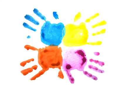 Pink and blue childs handprints isolated on white.