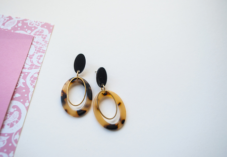 Earrings with leopard print on beige and pink color background with copyspace. Trendy jewellery. Banque d'images