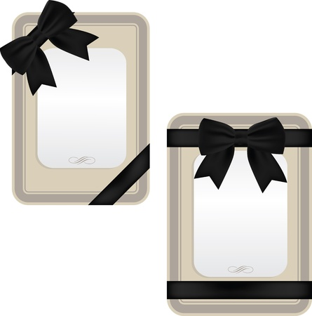 black satin: Collection of elegant cards with black satin ribbons