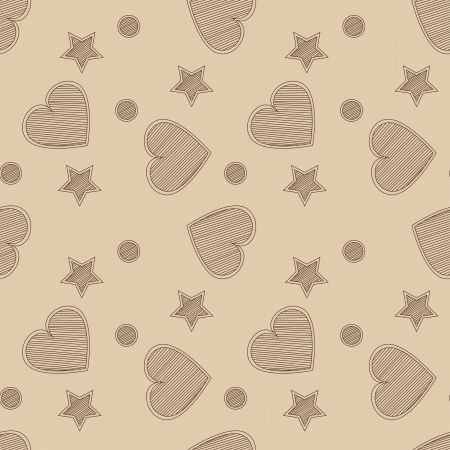 Hand drawn seamless pattern with hearts and stars Vector