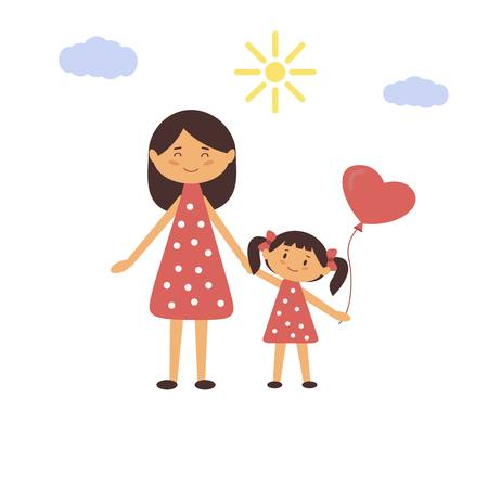 Woman holding the girls hand. Vector illustration of mother and daughter.
