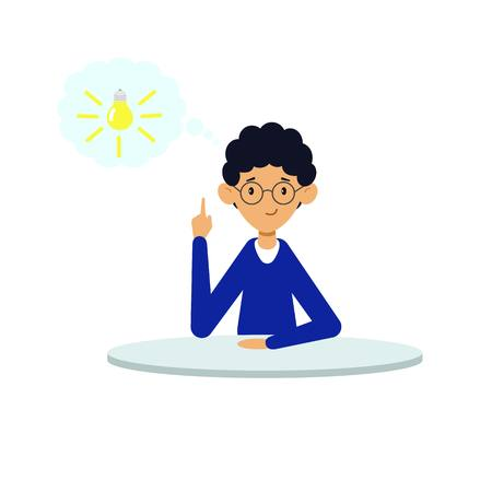 The man came up with a great idea. The man was enlightened by the idea. Vector illustration. White background.