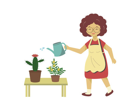 Vector illustration. White background. Woman watering flowers from a watering can. Female takes care of domestic plants. Happy lady grows flowers, cactus.
