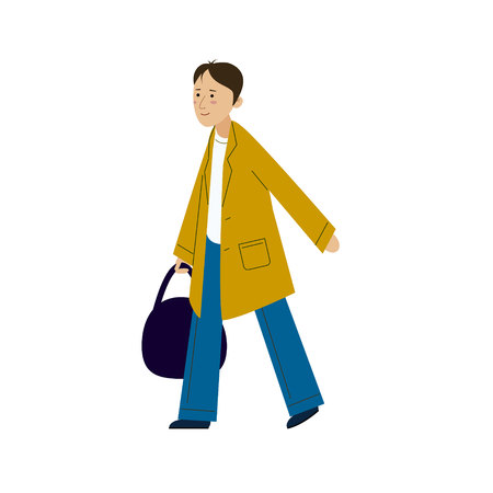 The guy in the raincoat comes with a bag in his hand. A young man in a cloak walking. Çizim