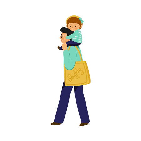 A young man carrying a child. Girl sitting on the shoulders of a guy. Vector illustration in flat style.