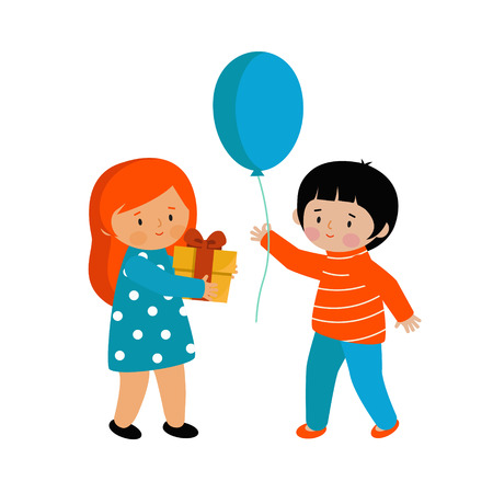 A boy and a girl bearing gifts. Children go on holiday with gifts. Vector illustration. Cute characters in the style of flat.