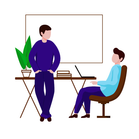 Two men communicate in the office. One guy is sitting in a chair next to the table. The second stands leaning against the table and holds his hands in his pockets. Vector character in flat style. White background.