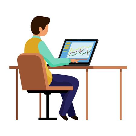 Der Typ im Büro arbeitet am Computer. Ein Mann sitzt an einem Tisch und tippt auf einem Laptop. Vektorillustration, Charakter im flachen Stil. Weißer Hintergrund. Vektorgrafik