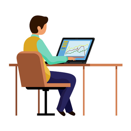 The guy in the office works at the computer. A man sitting at a table and typing on a laptop. Vector illustration, character in flat style. White background. Vectores