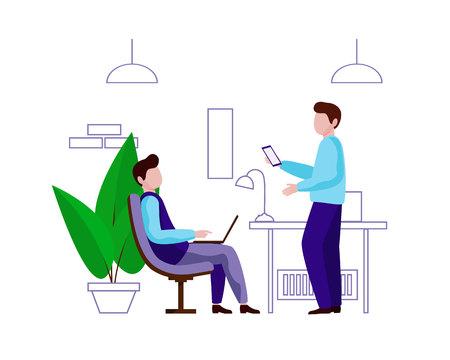 Ein junger Mann sitzt auf einem Stuhl mit einem Laptop auf den Knien. Als nächstes kommt ein Mann mit einem Telefon. Männer kommunizieren bei der Arbeit. Vektorzeichen im flachen Stil. Weißer Hintergrund.
