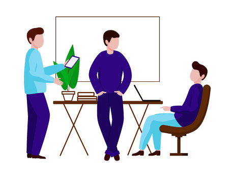 A group of men working in the office. The team discusses the working draft. Vector character in flat style. White background.