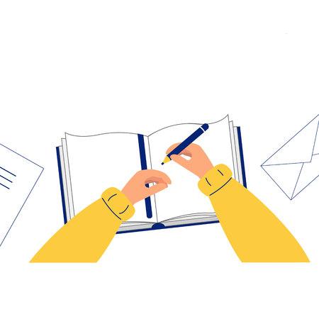Main tenant un crayon. L'homme écrit, dessine dans un cahier, vue de dessus. Illustration vectorielle, style plat. Fond blanc.