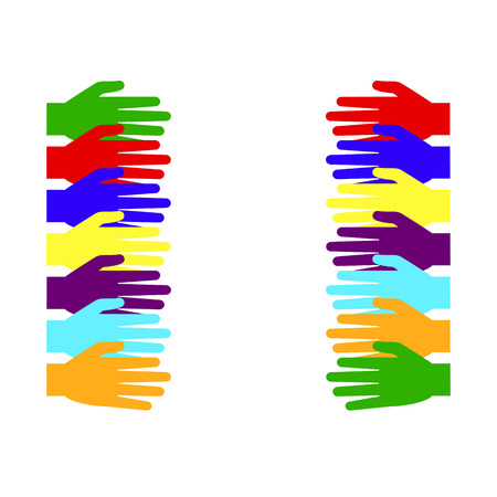 Hands of different colors. Vector illustration. White background. Illustration