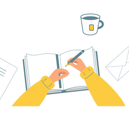 Hand holding pencil. A person writes, draws in a notebook, a book. Cup of tea. The view from the top. Vector illustration, flat style. White background. Banque d'images - 127268539