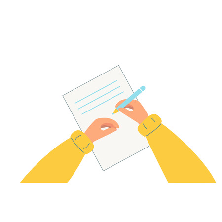 Mano sosteniendo un lápiz. Una persona escribe, dibuja en una hoja de papel. La vista desde arriba. Ilustración de vector de estilo plano. Fondo blanco.