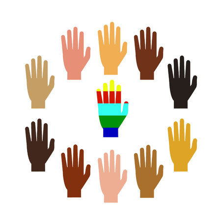 Hands of people of different nationalities. Multi-color hands. Vector illustration. White background.