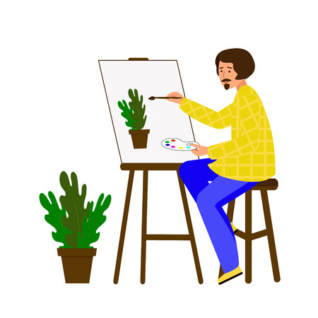 A man draws on canvas. The artist is working on a painting. The guy portrays a pot of flowers. Vector illustration. Character in flat style.