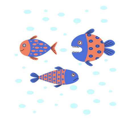 Funny fish swim in the water. A predatory fish hunting small fish. Vector illustration. White background.