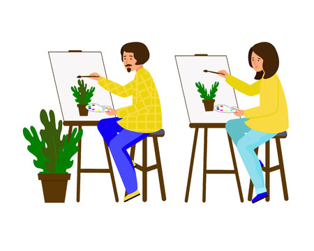 Man and woman painted on the canvas. Artists working on the painting. The guy and the girl shows a pot of flowers. Vector illustration. Character in flat style. White background.