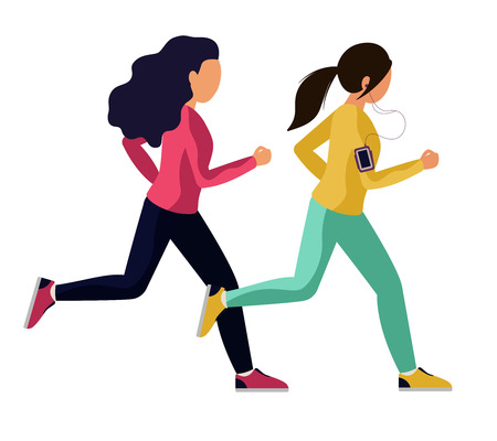 Young woman in sports clothes running. Two girls run a race, overtake each other. Vector illustration in flat style. White background.