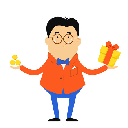 The guy in the jacket and bow tie stands with his arms outstretched. A man in a suit holding a gift and money. Vector illustration. Character in flat style.