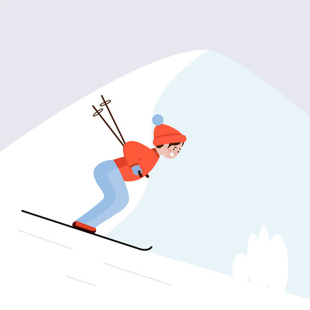 Skier on the ski slope. Guy skiing in the mountains, winter sports. Vector illustration.