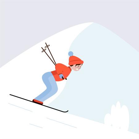 Skieur sur la piste de ski. Guy ski en montagne, sports d'hiver. Illustration vectorielle.