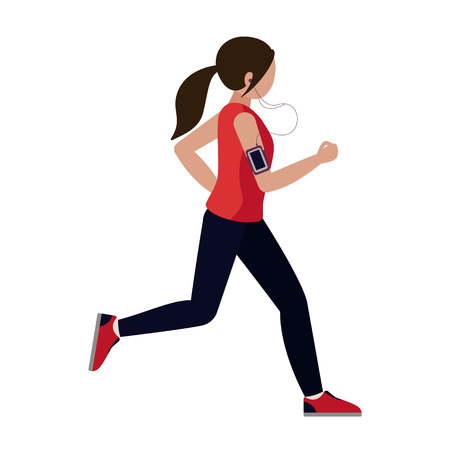 Girl runs. A young woman engaged in sports. Running girl listening to music through the headset. Vector illustration in flat style. White background.
